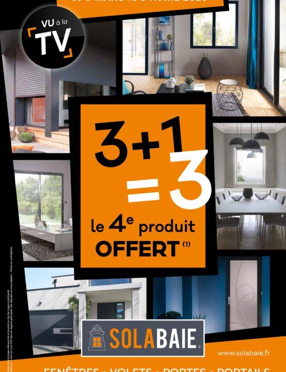 Promotion sur les fenêtres, portes et fermetures Solabaie 3+1 = 3, du 9 mars au 3 avril