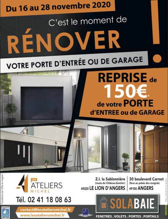 Pose porte de garage ou porte d'entrée à Angers : profitez de l'offre de reprise Solabaie